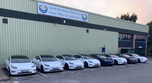 Tesla Cars Lined up outside Head Office