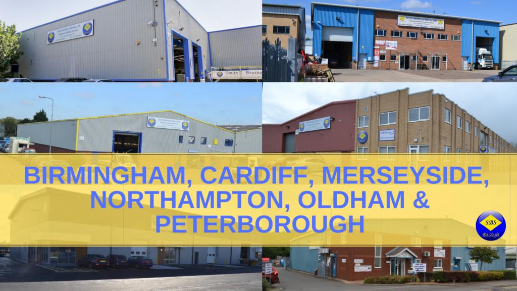 Birmingham, Cardiff, Merseyside, Northampton, Oldham and Peterborough