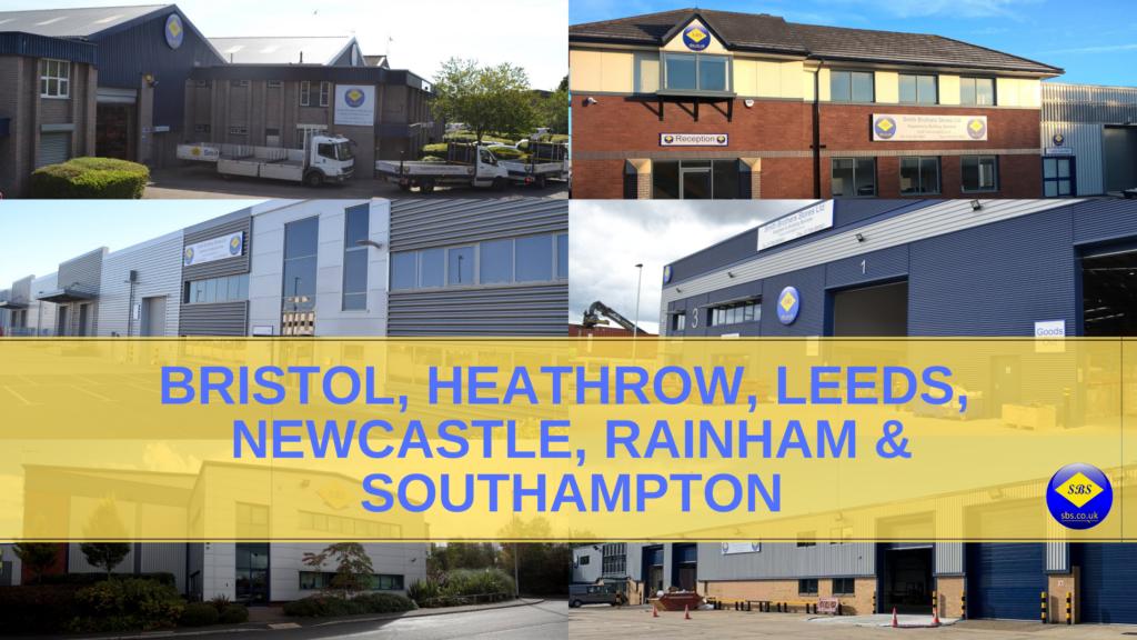 Bristol, Heathrow, Leeds, Newcastle, Rainham and Southampton