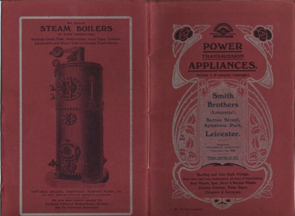 A Smith Brothers brochure advertising portable steam boilers for power transmission.