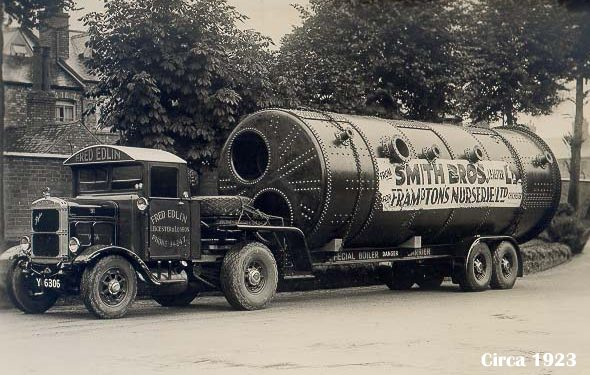 A Smith Brothers Boiler in transit during the 1920s.